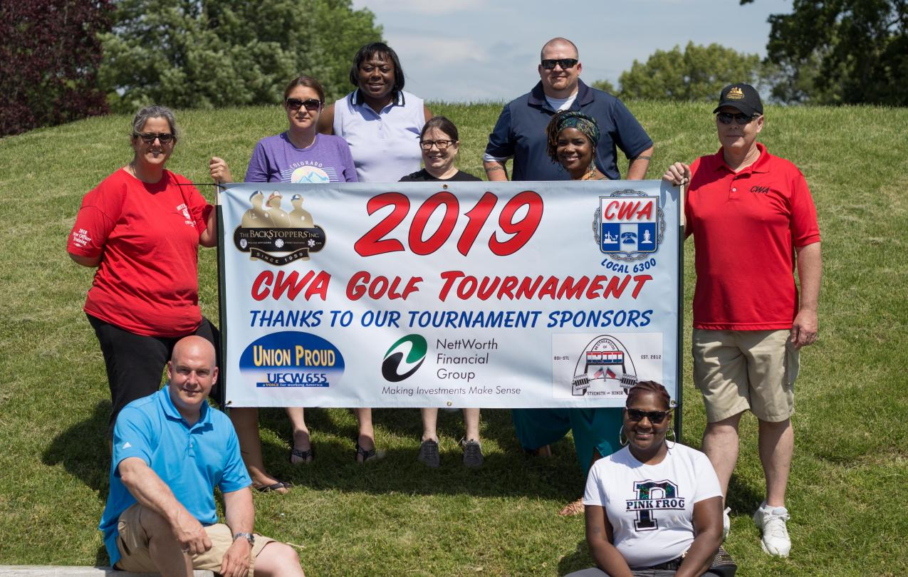 cwa banner and members