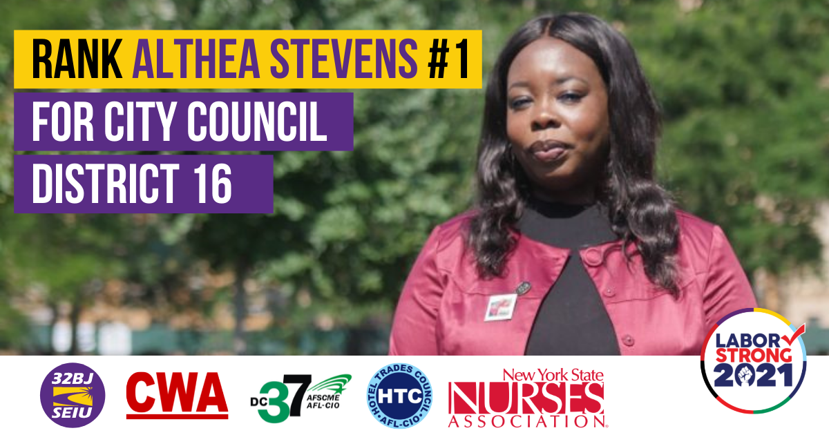 Rank Althea Stevens Number 1 for City Council District 16 Graphic with union logos