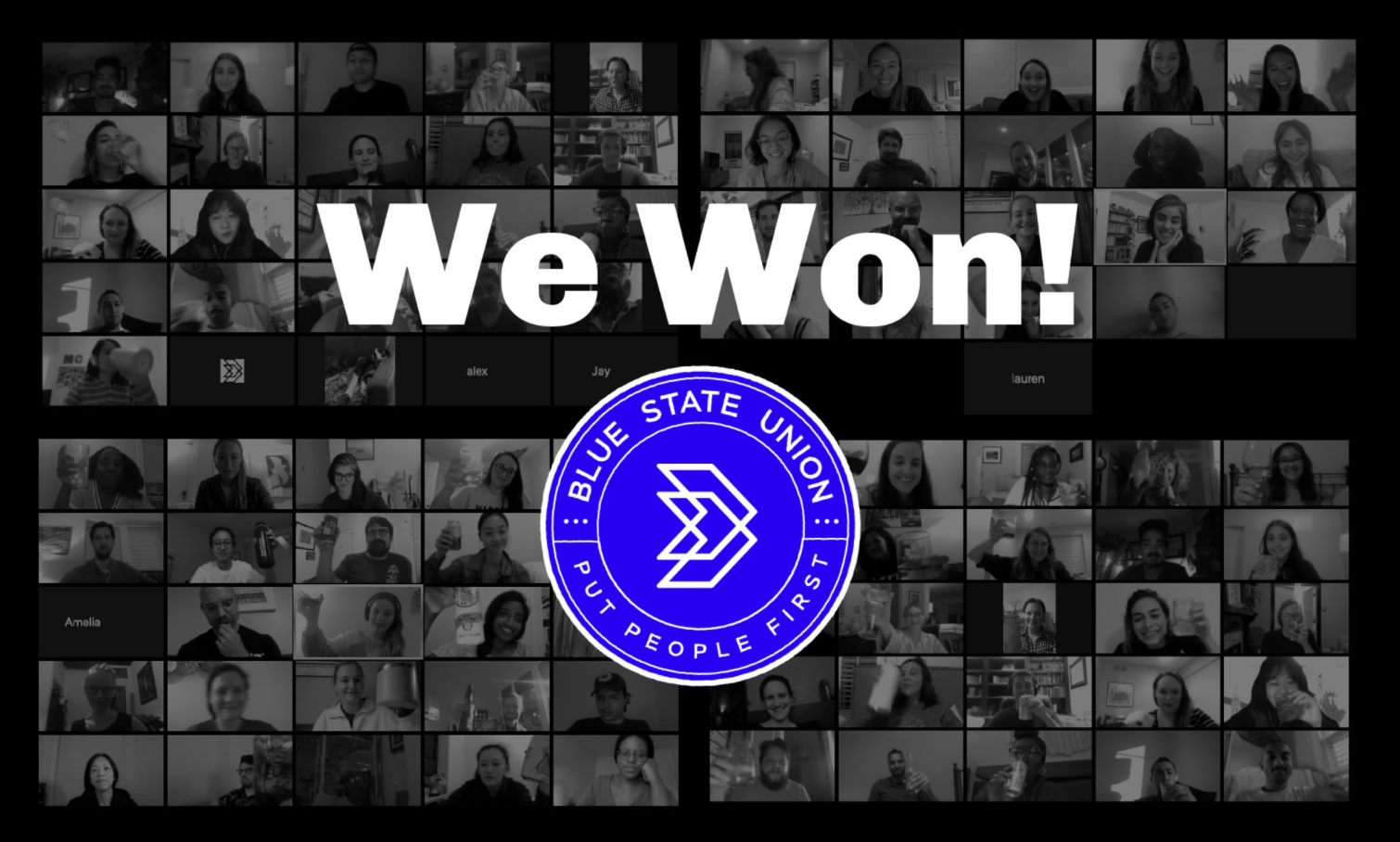 "Photo of many workers on zoom taking a solidarity photo with the Blue State union logo and the words ""We Won!"""