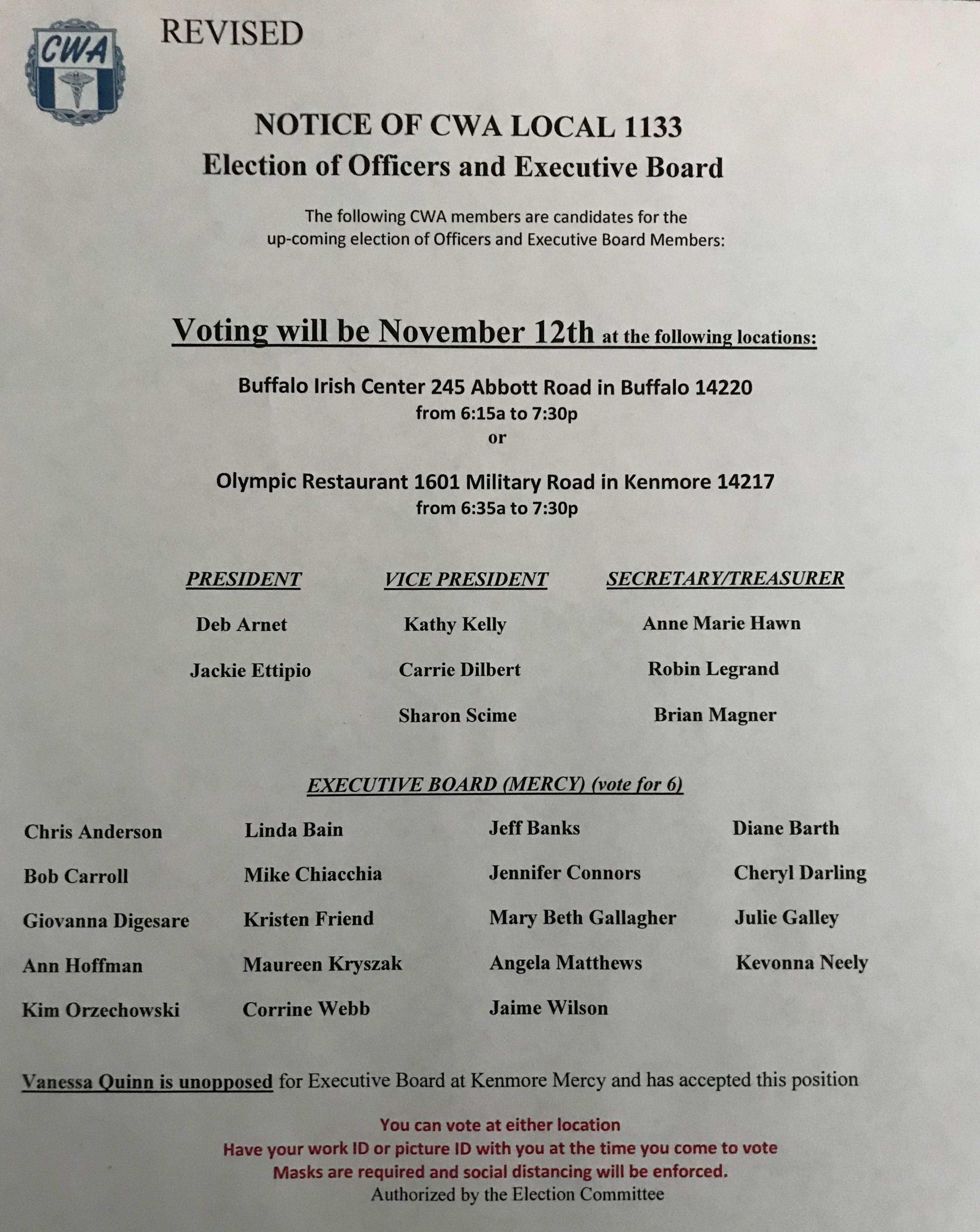 CWA 1133 elections 11.12.2020 amended flyer