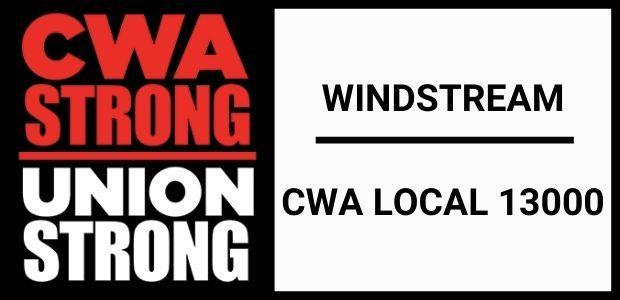 CWA Strong logo with Windstream CWA Local 13000