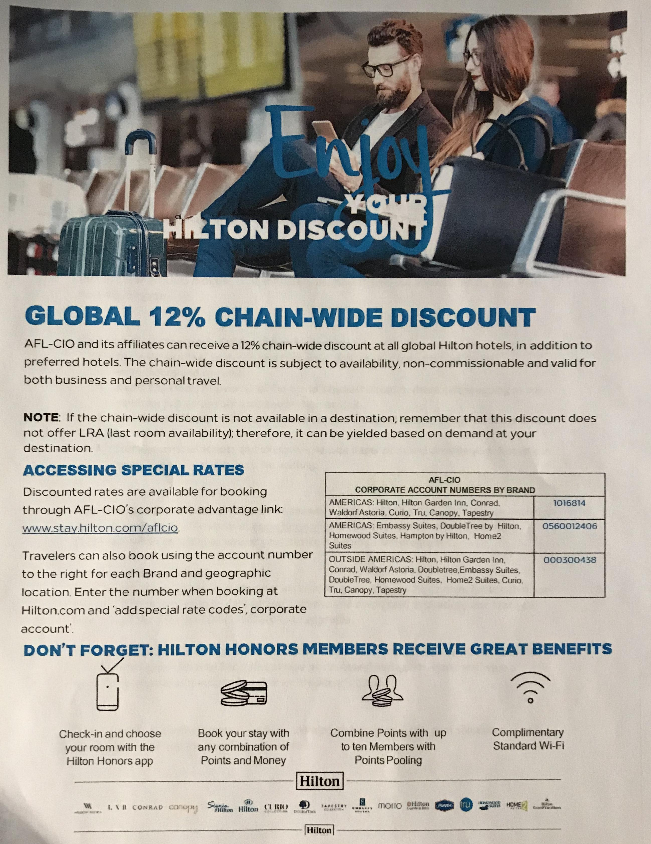 Hilton Discounts for union members