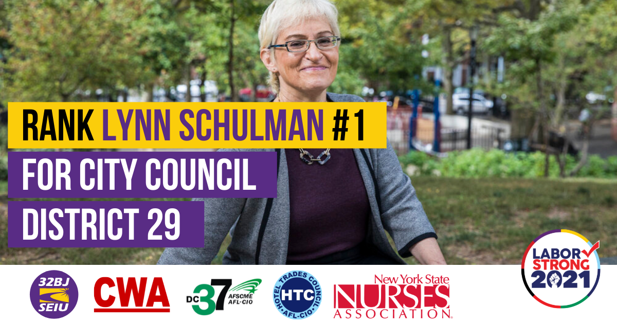 Rank Lynn Schulman Number 1 for City Council District 29 Graphic with union logos