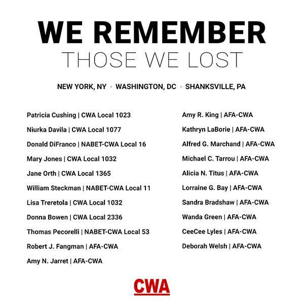 CWA Members Lost on 9/11