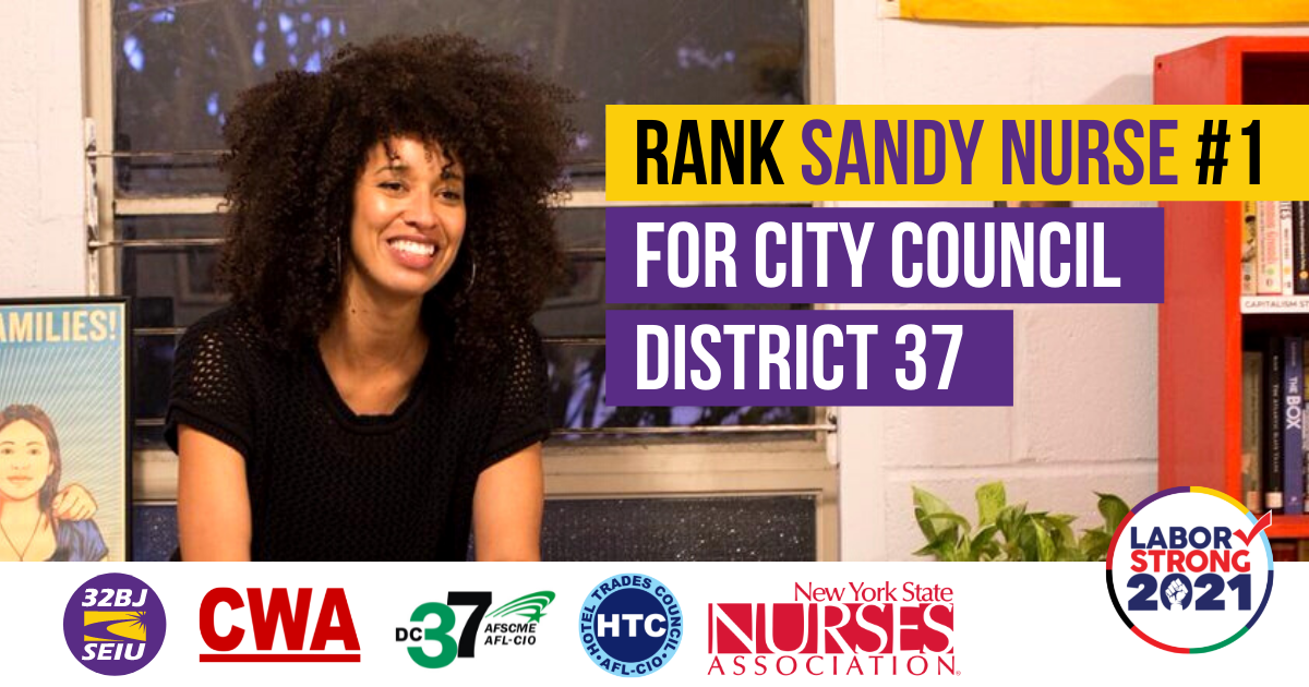 Rank Sandy Nurse Number 1 for City Council District 37 Graphic with union logos