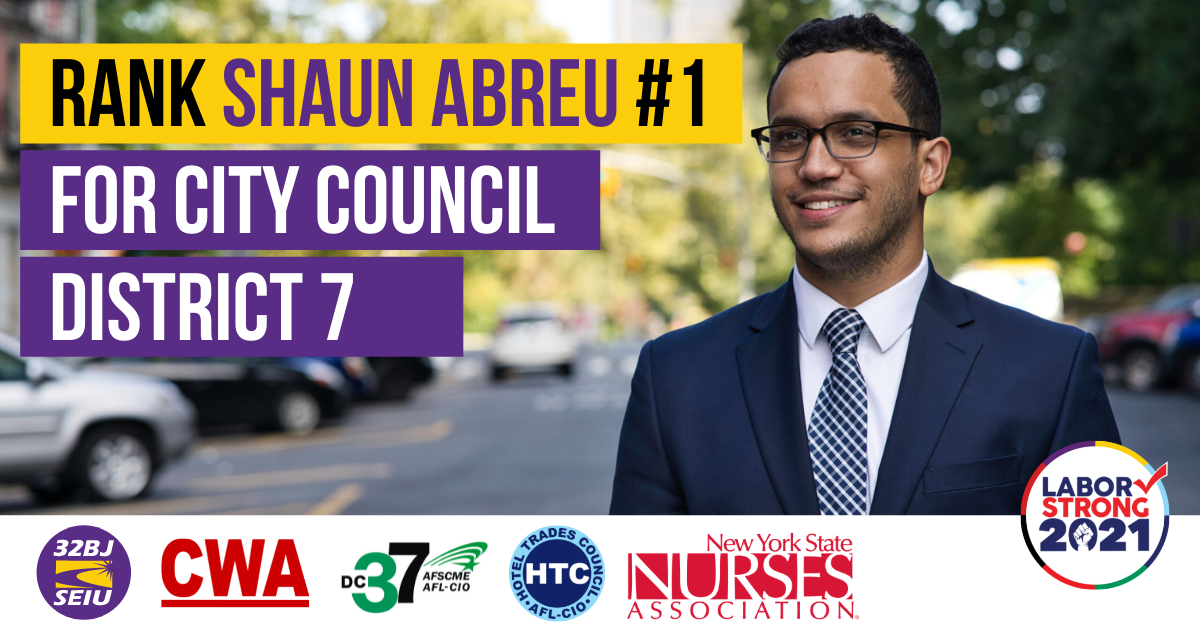 Shaun Abreu Low Number 1 for City Council District 1 Graphic with union logos