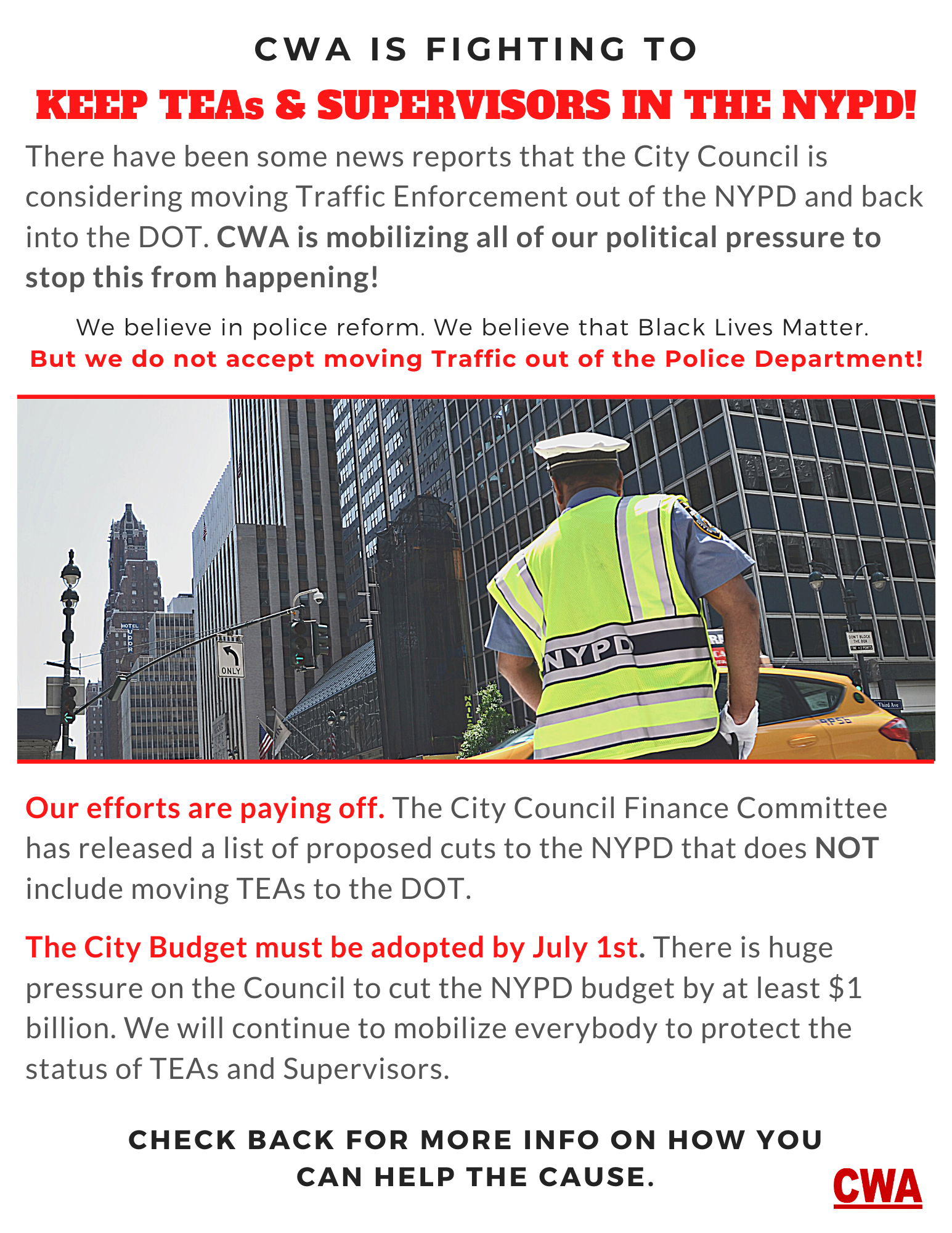 CWA Local 1181 Traffic Enforcement Agents and Supervisors NYPD
